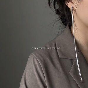 Stylish Draped long earrings in silver